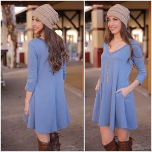 ✨LAST ONE✨Blue V Neck Swing Dress with Pockets